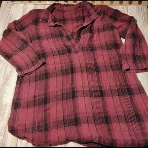Cp Shades, Crimson/Black, Flannel Tunic, M